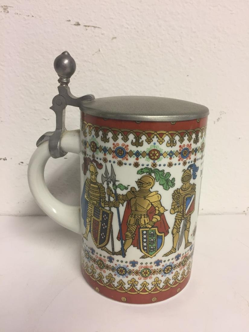 German Fine Porcelain Stein with Pewter Lid