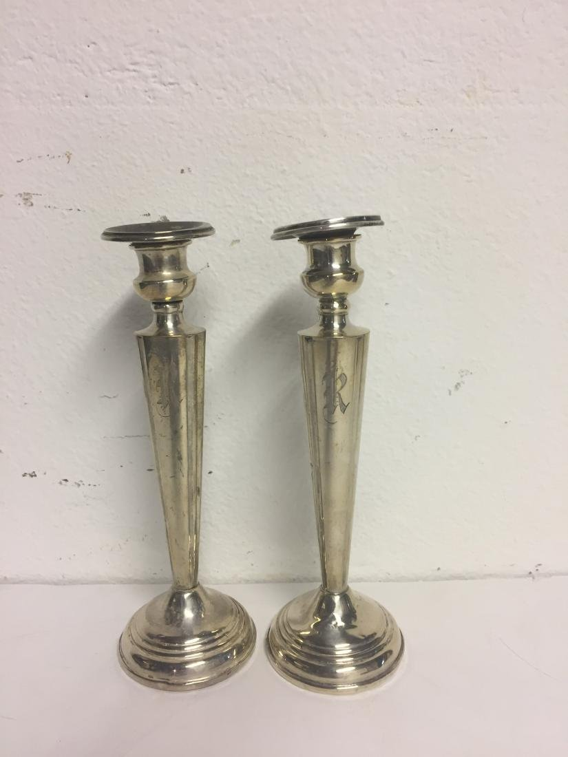 Pair of Sterling Silver Cement Filled Candlestick