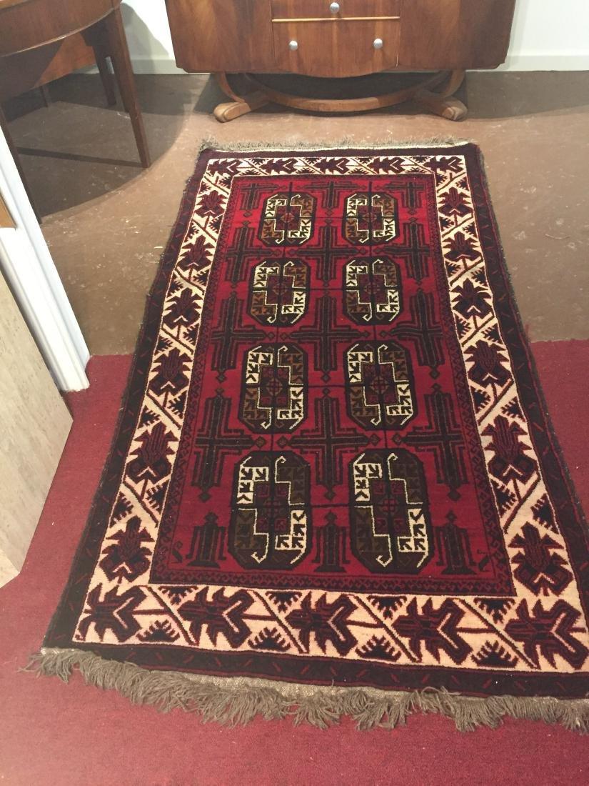 Vintage Red Woven Wool Rug