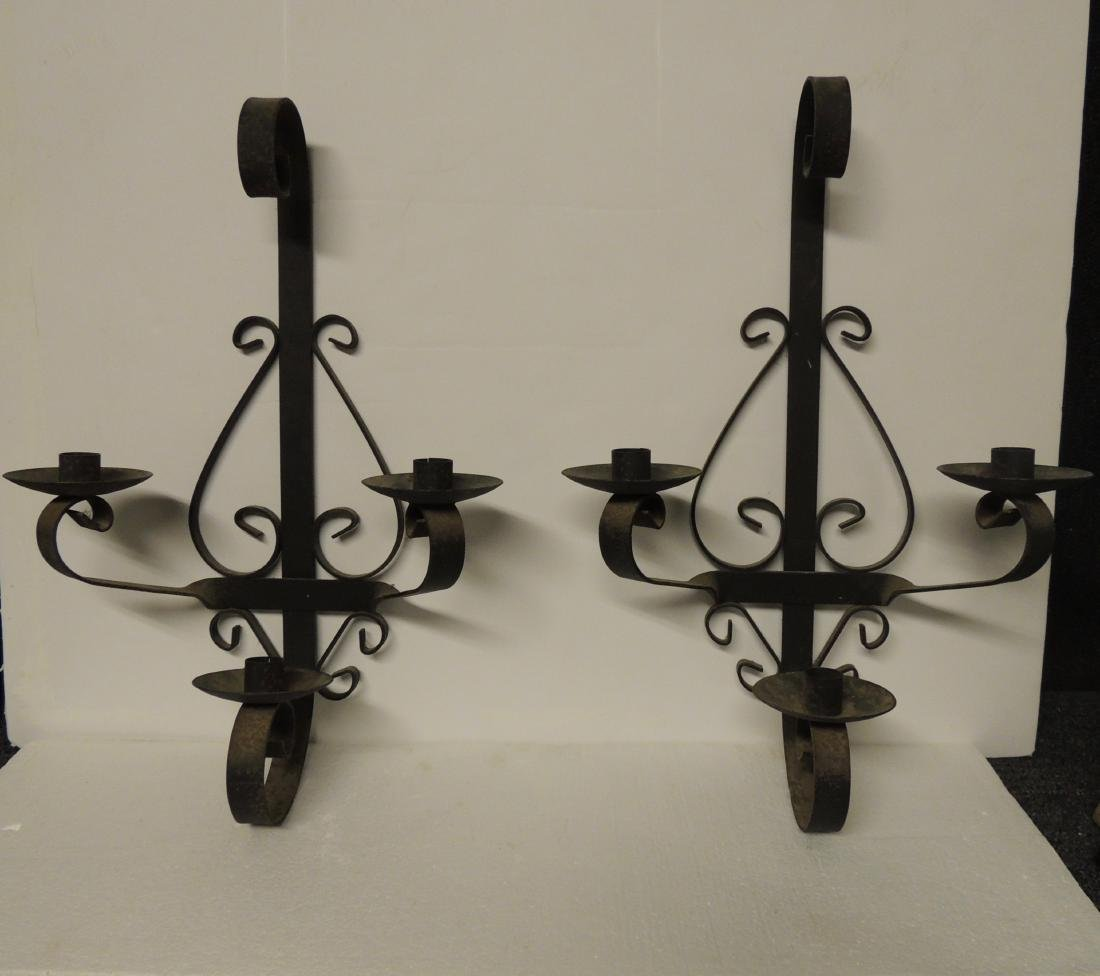 Antique Wrought Iron Pair of Wall Candle Sconces