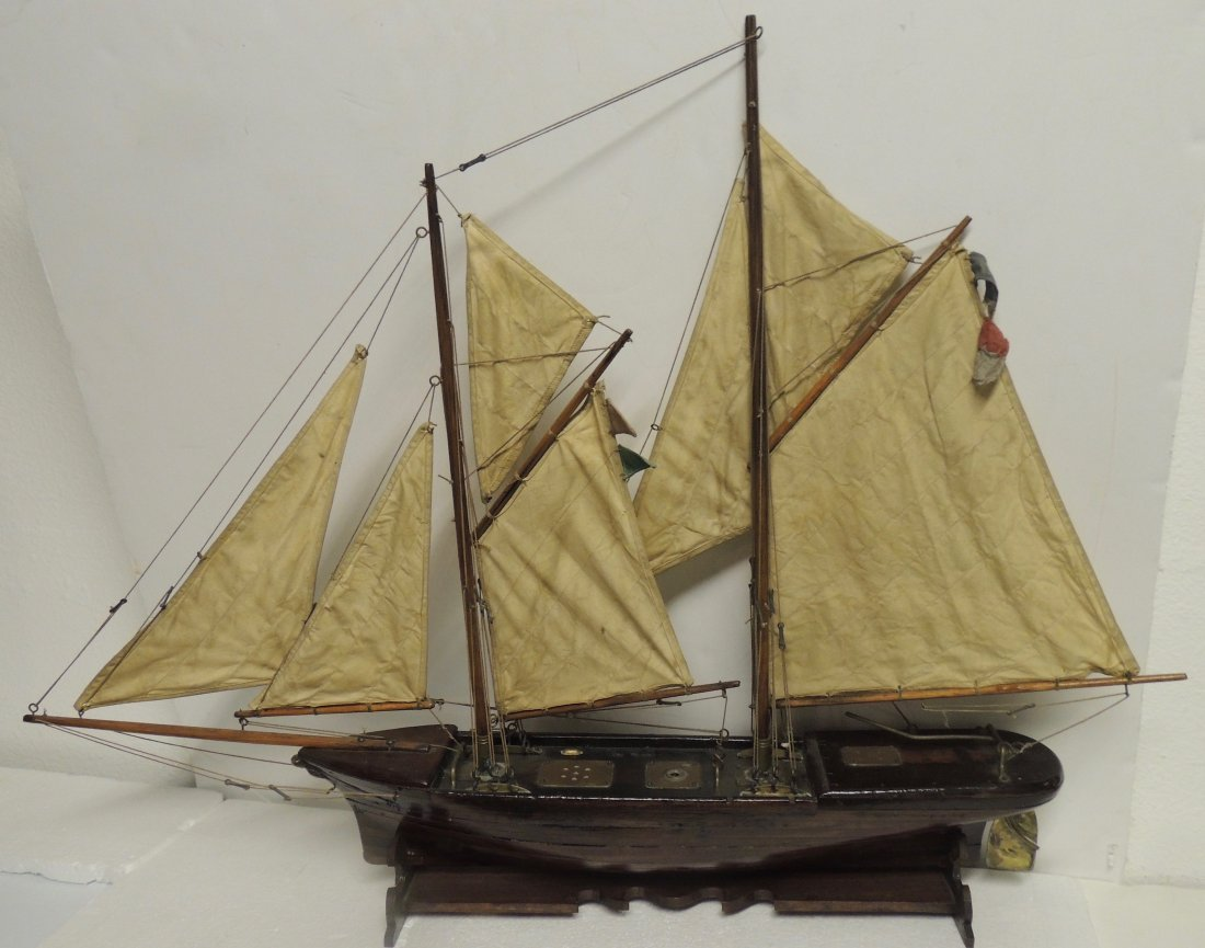 Hand Carved Vintage Clipper Ship