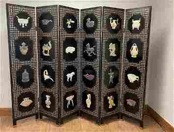Chinese Inlaid Six Panel Solid Wood Screen