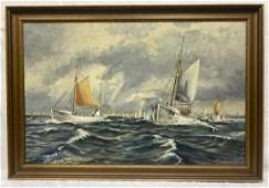 Fishing Boats Seascape Painting  Oil on Canvas