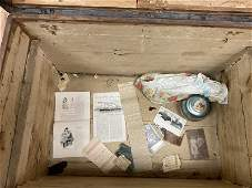 Antique Humpback Treasure Trunk with Items Inside
