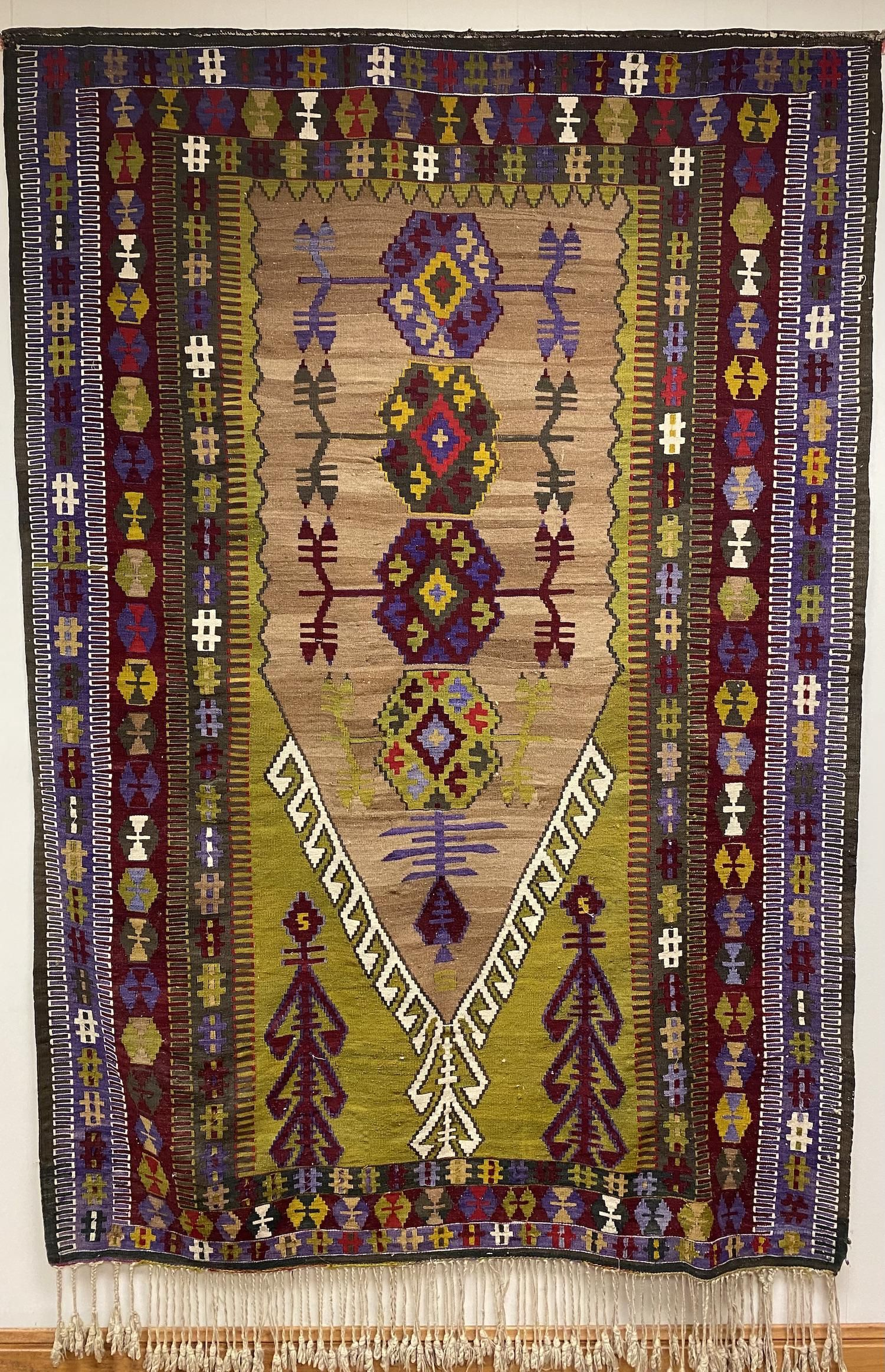 Tribal Kilim Rug with Bright Colors
