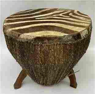 Vintage African Zebra Drum