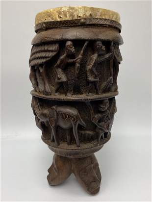 Finely Carved African Drum