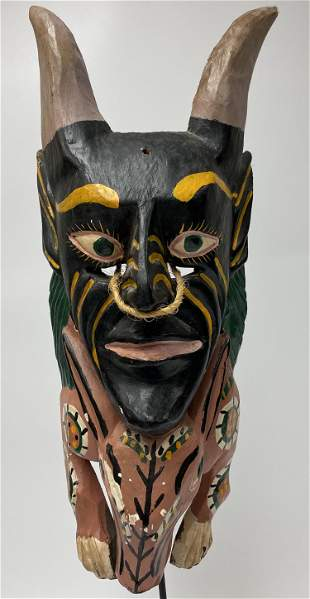 Mexican Large Devil Animal Mask with Horns