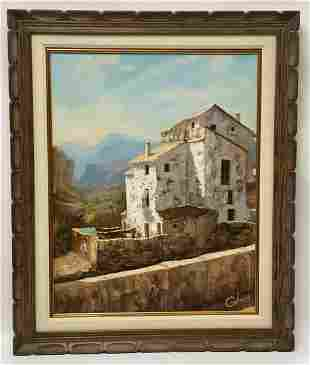 Signed Village Oil Painting
