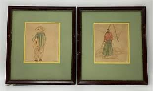 Pair of Rodriguez Vintage Watercolors