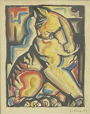 1936 Vallee - Signed Abstract Lithograph