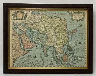 1631 Latin Hand Colored Map of Asia