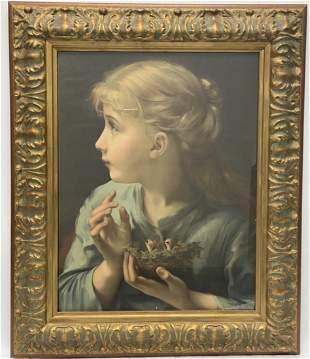 Vintage Framed Print Young Girl Holding a Birds Nest