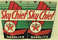 Pair Porcelain Sky Chief Texaco Pump Plates Signs