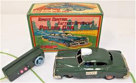 Linemar Battery Operated Police Car Tin Toy MIB