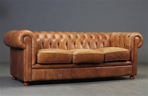 Vintage Distressed Chesterfield Brown Leather Sofa