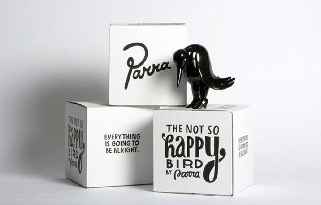 PARRA Not So Happy Bird Sculpture White/Black - 2