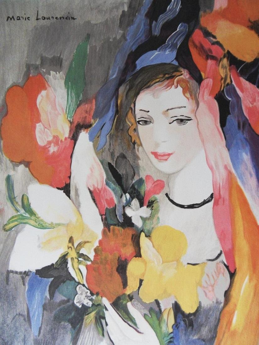 Young girl with a bouquet, lithograph - Marie Laurencin