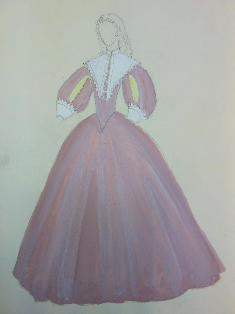 Pink feminine costume, original signed drawing -