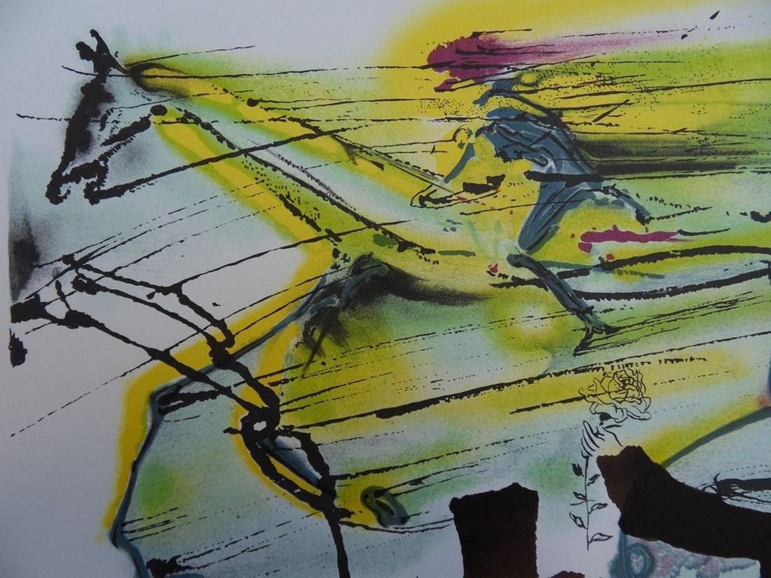 The racehorse, original signed lithograph - Salvador