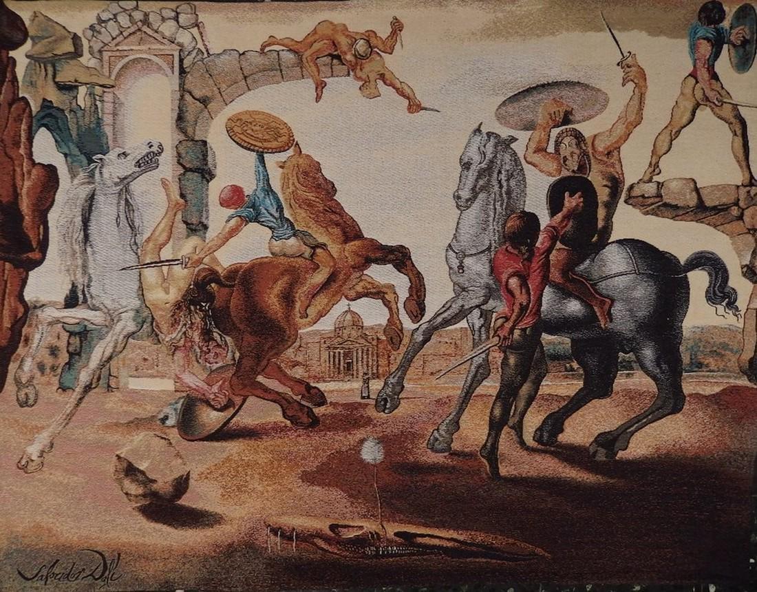 Battle around a dandelion Tapestry - Salvador Dali