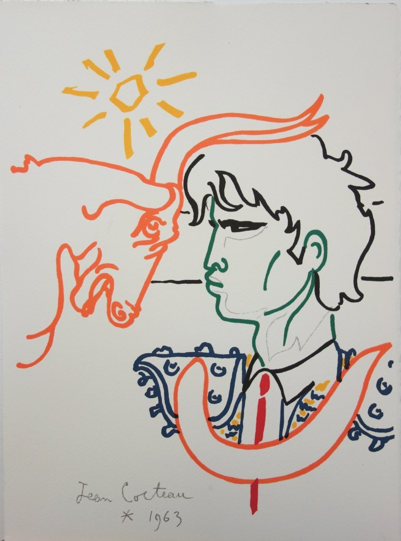 Facing the Sun - signed lithograph - Jean Cocteau