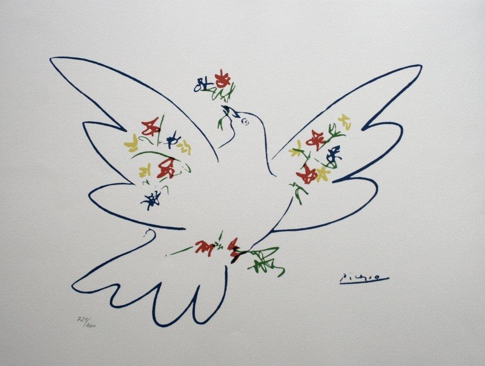 Lithographie intitulée la colombe bleue - Pablo Picasso