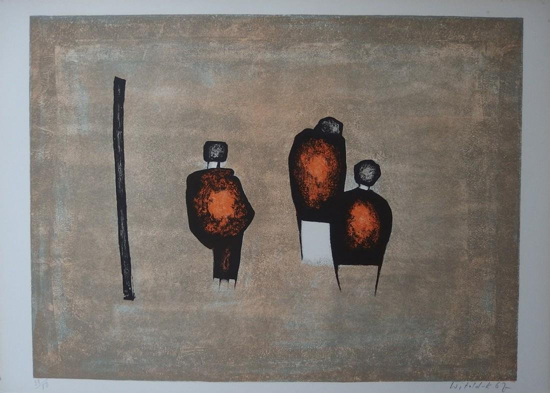 Three characters, original lithograph on stone - Witold