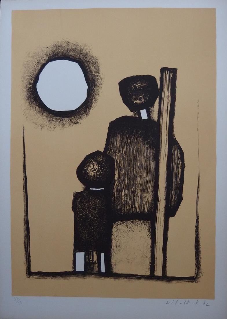 Facing the sun, original lithograph on stone - Witold