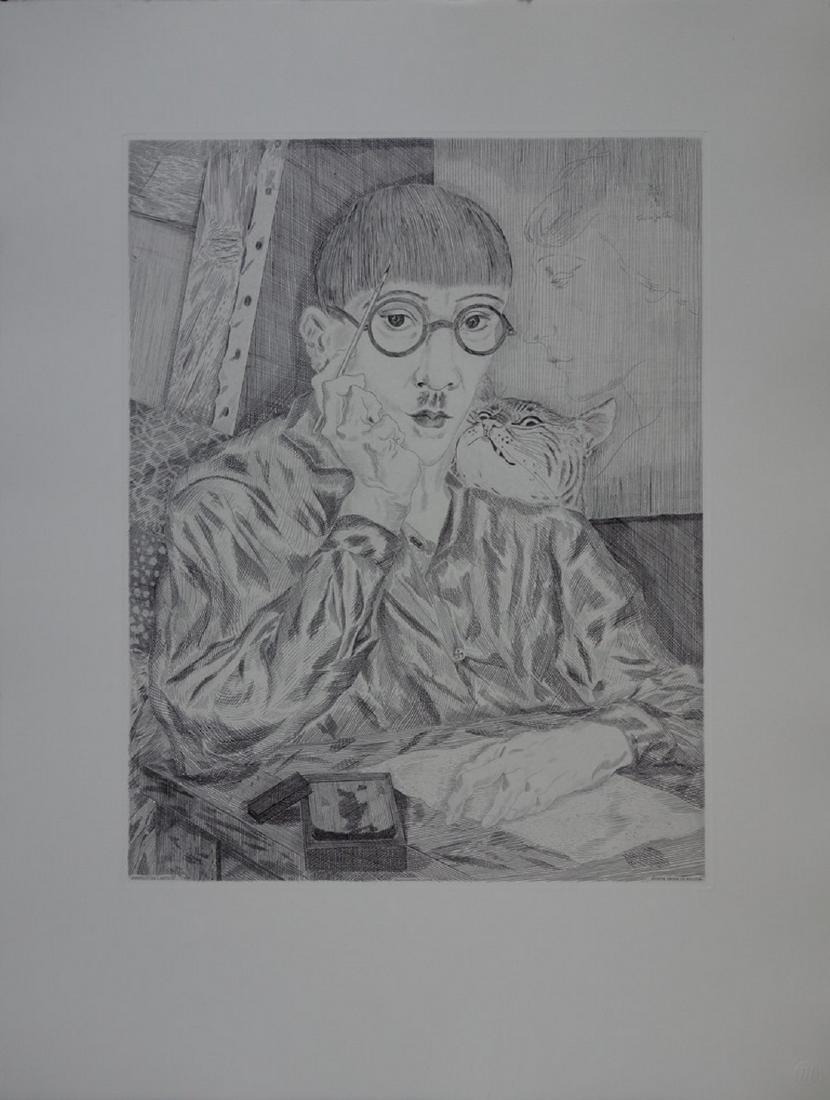 Self-Portrait, engraved wood - Tsuguharu Foujita