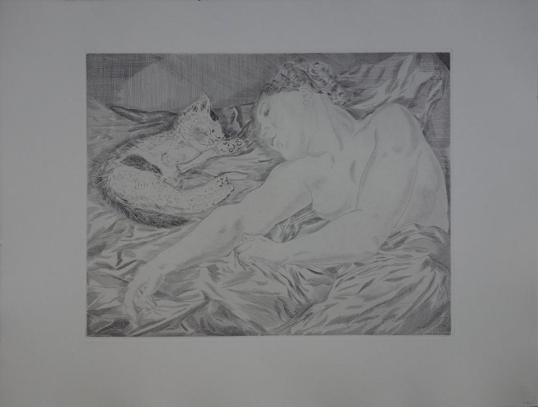 Woman with cat, original signed engraving - Tsuguharu