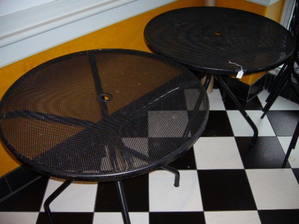 9: (2) Black Metal Round Outdoor Tables