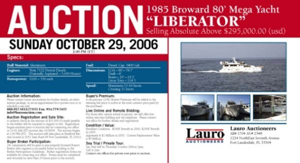 "1E: 1985 Broward 80' Mega Yacht ""Liberator"" Auction"