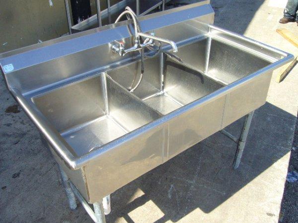 """6F: Sani Safe 3comp. 53.5"""" S/S Sink w/ Faucet"""