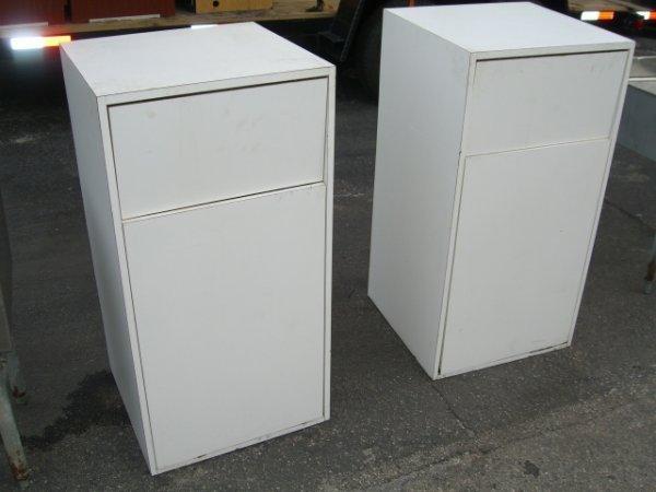 21: (2) White Formica Trash Bins