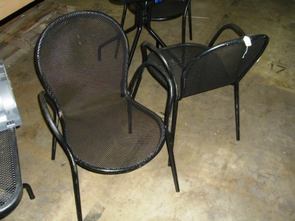 "66A: (14) Black Metal Outdoor Caf  Chairs 21""x27""x33"""