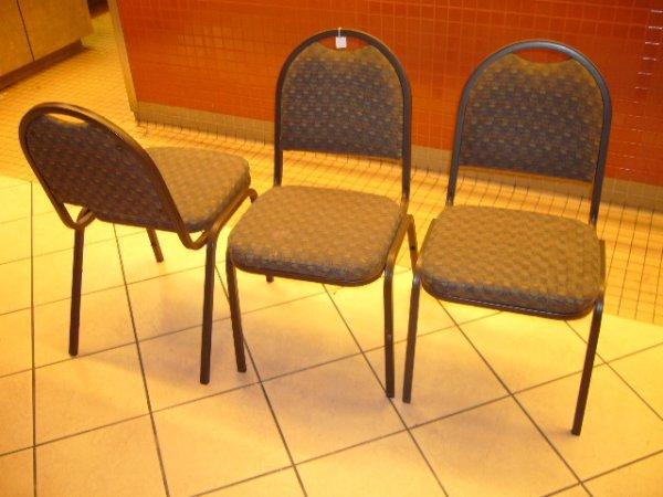 "23A: (58) Falcon Black Metal Frame Stack Chairs w/2"" Se"