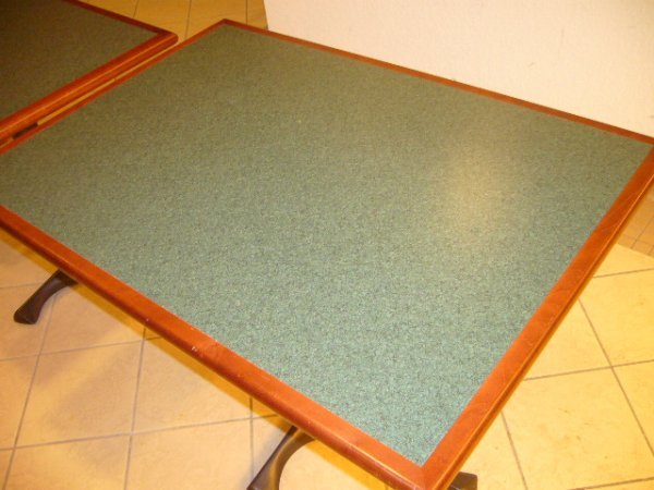 """25A: (7) 42""""x30"""" 4 Person Darkwood Tables"""