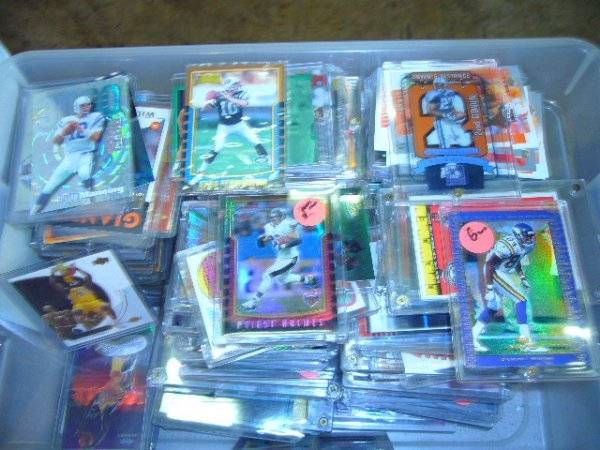 21: (1) Box NFL, NBA, MLB Cards (Most in plastic cases)