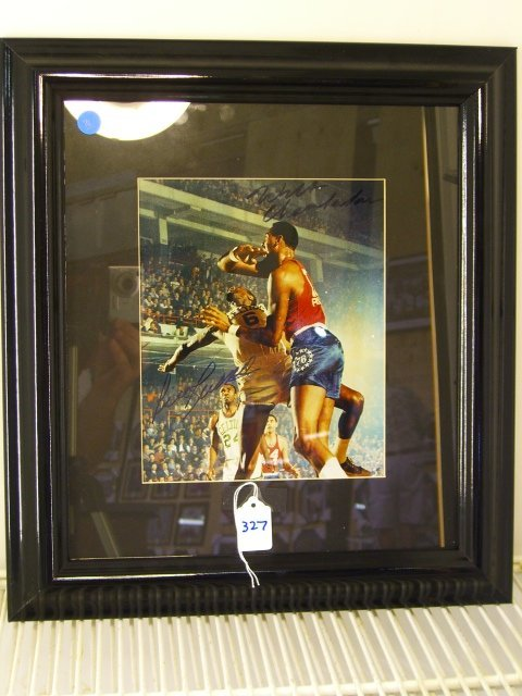 327: Wilt Chamberlain / Bill Russell Framed Picture Sig