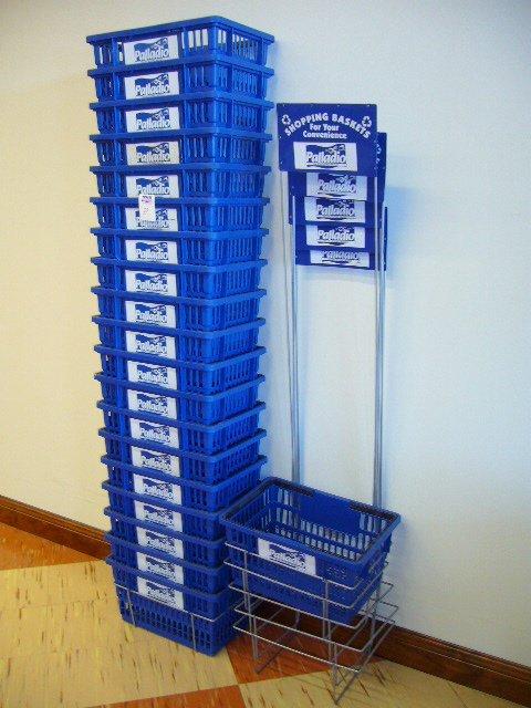 218A: (20) Blue Plastic Shopping Baskets w/Handles