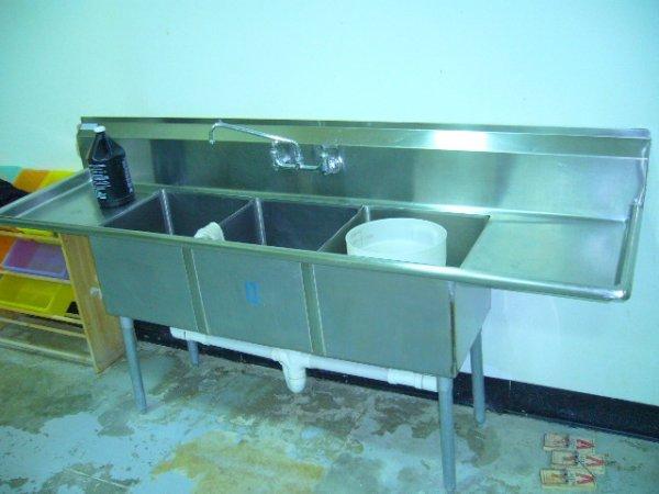 """500: 90"""" 3comp. S/S Sink w/(2) 18"""" MDB's (18""""x18"""" Bowls"""