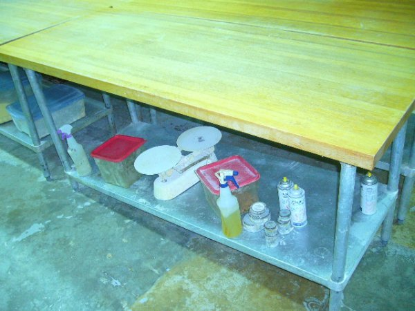 "502: 72""x30"" Butcher Block Work Table w/Galv. Undershel"