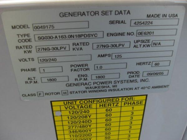 21: Guardian Quiet Source 27 Kw Generator Model # 00491 - 9
