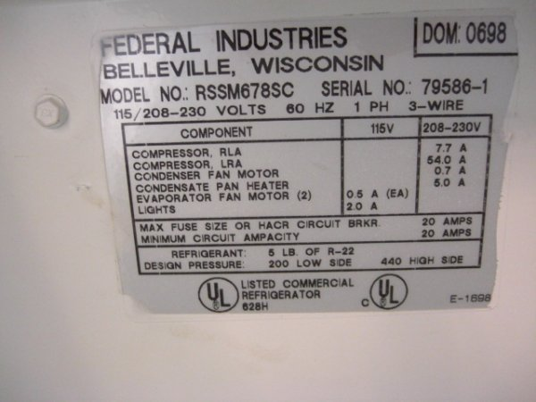 92: Federal RSSM678SC Upright Open Display Cooler  - 5