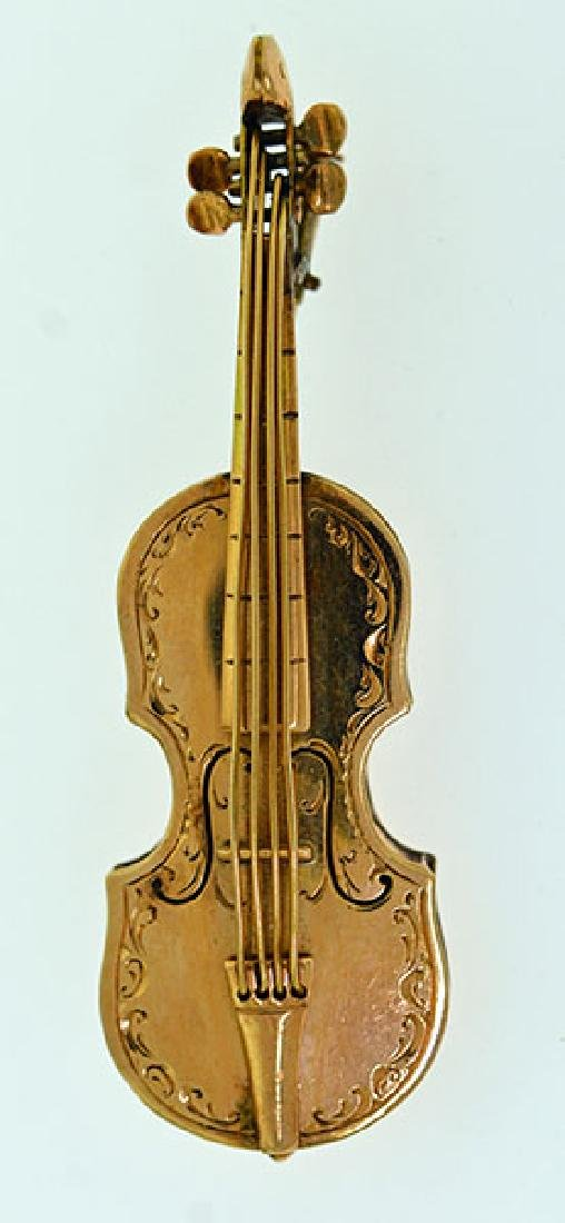 Gold Violin Pin