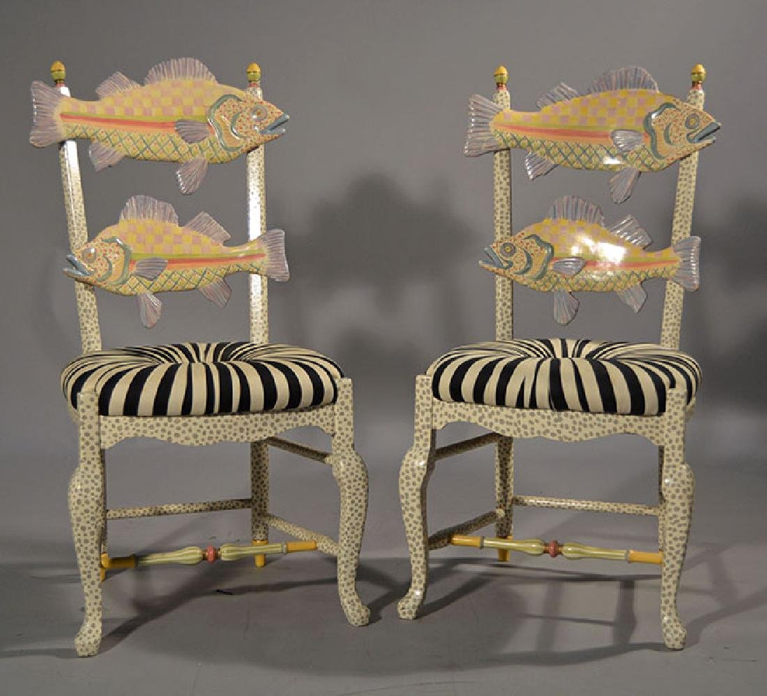 McKenzie-Childs Carved Fish Chairs