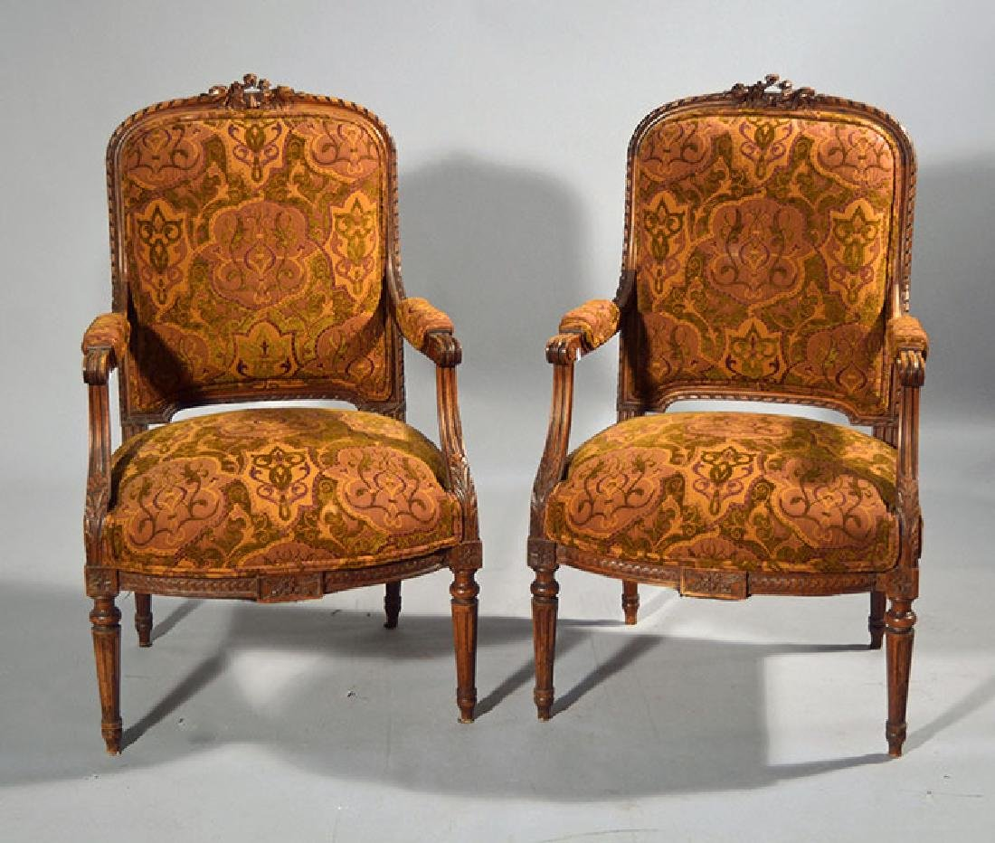 Pair French Louis XVI Style Armchairs