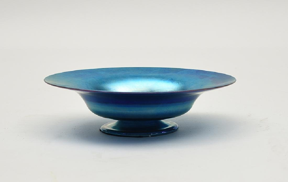 Tiffany blue Favrile art glass pedestal bowl