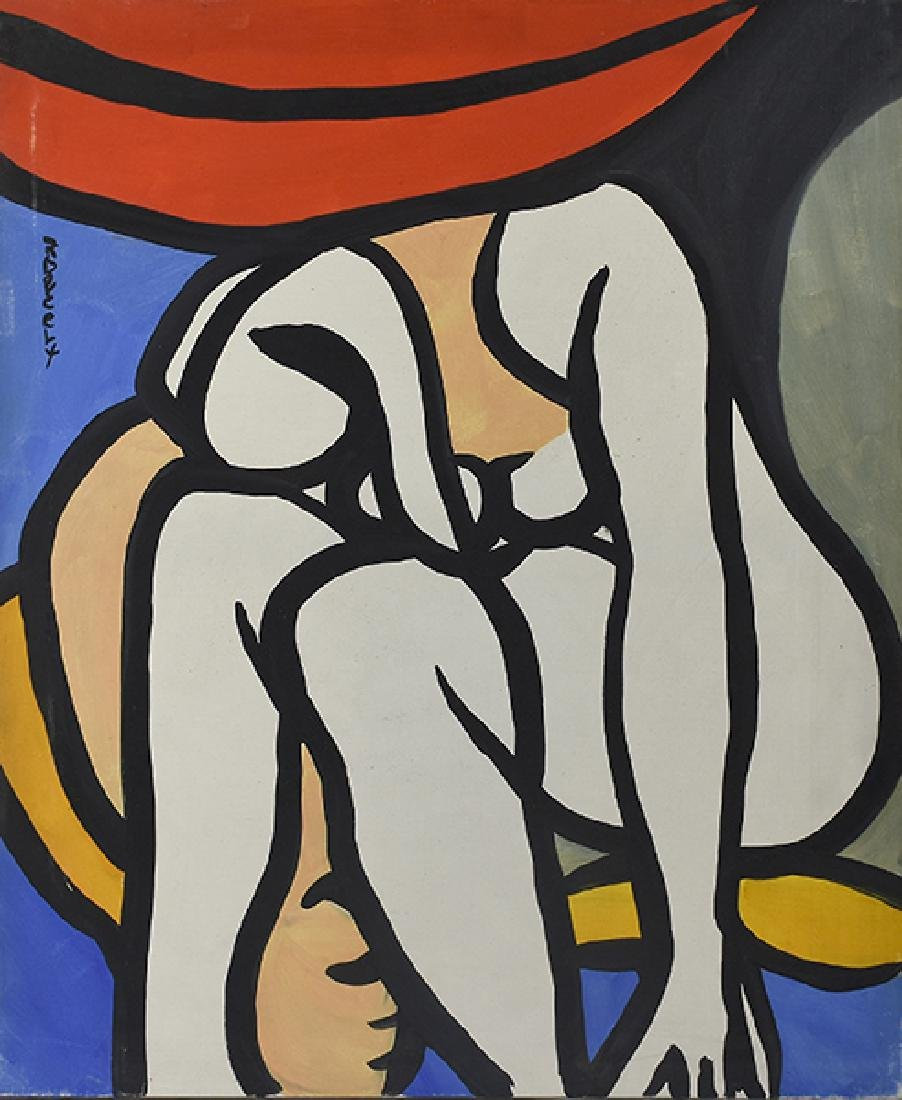 Oil on canvas, seated female nude signed Roland Dorcely